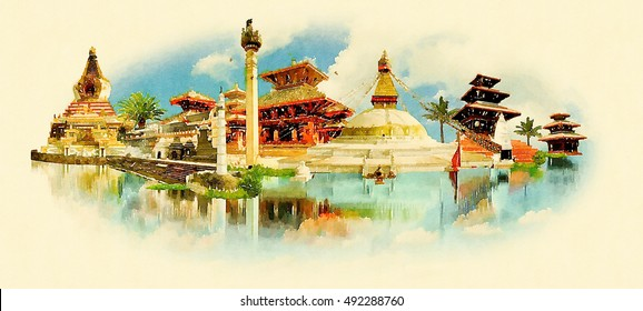 KATHMANDU city high resolution panoramic water color illustration