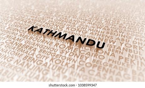 Kathmandu lettering, 3d illustration of world's cities.