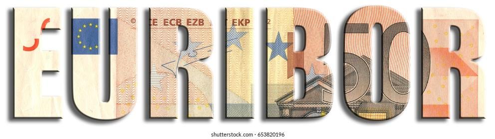 KATOWICE, POLAND - JUNE 5, 2017: Euribor - European inter bank offer rate. Euro banknote texture.