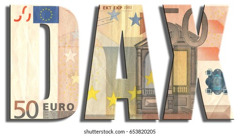 KATOWICE, POLAND - JUNE 5, 2017: DAX - German stock market index. Euro banknote texture.
