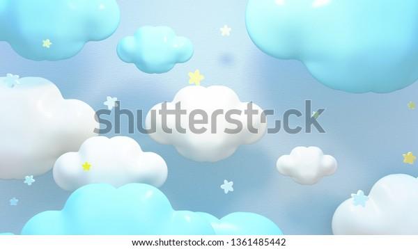 Ilustracion De Stock Sobre Nubes Y Estrellas Azules Kawaii Imagen 1361485442
