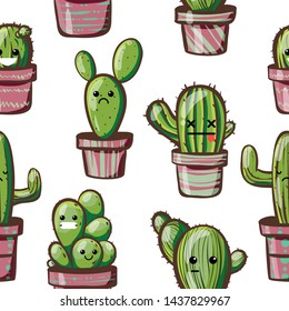 kawaii cactus. seamless pattern with cute cactus in pink pots. pattern on white background