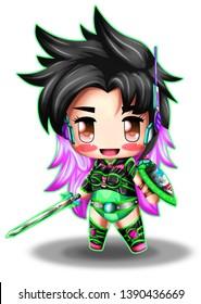 kawaii character chibi anime, illustration.