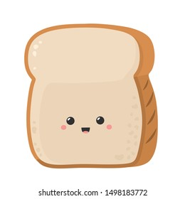 Kawaii chibi Cartoon toast bread icon. Image sliced toast bread smiling. Illustration emoji bread man in flat style