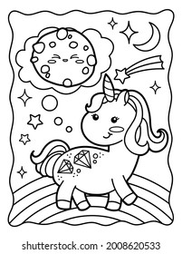 Kawaii coloring page. Rainbow unicorn with chocolate chip cookies. Coloring book. Black and white illustration.