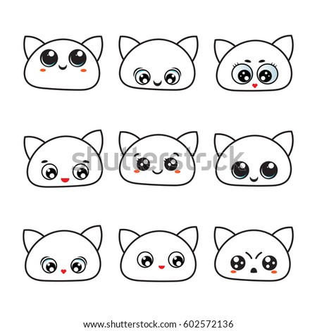 Royalty Free Stock Illustration Of Kawaii Eyes Icon Set Emotions