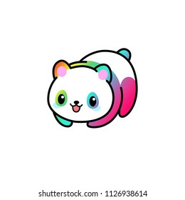 Kawaii illustration of a minimalist cute panda in colorful rainbow pattern colors