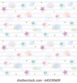 Kawaii pattern background with cute cartoon stars and speech bubbles. For little girls babies clothes, pajamas, baby shower design. Pastel pink, blue and glitter. Raster copy.