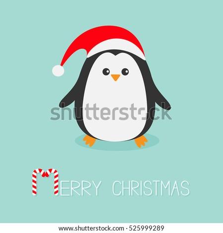 a229e268715ee Kawaii Penguin wearing Santa red hat. Cute cartoon character. Flat design  Winter antarctica bluebackground