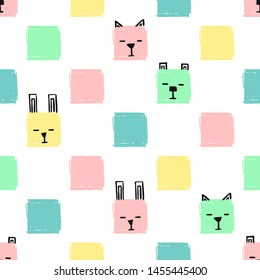 Kawaii Squares Animals Seamless pattern. Hand Draw Background with the faces of Cats, Dogs and Rabbits. Endless Background pencil Texture of squares in pastel colors.
