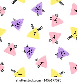 Kawaii triangle Animals Seamless pattern. Hand Draw Background with the faces of Cats, Dogs and Rabbits. Endless Background pencil Texture of triangle in pastel colors.