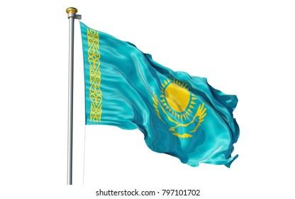 Kazakhstan flag. Isolated 3d Kazakhstan flag