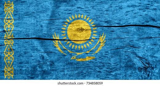Kazakhstan flag on wood texture background