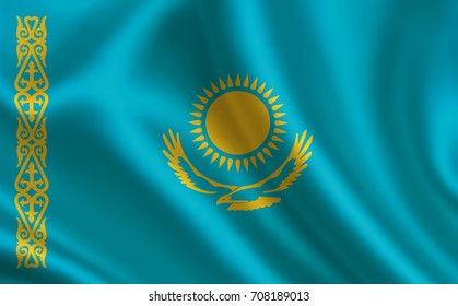 "Kazakhstan flag. A series of ""Flags of the world.""  ( The country - Kazakhstan flag )"