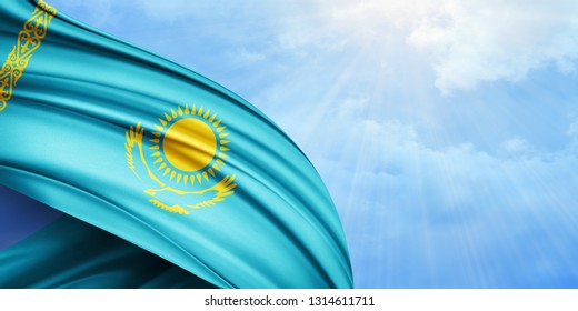 Kazakhstan  flag of silk with copyspace for your text or images and sky background-3D illustration