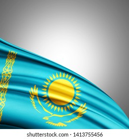 Kazakhstan flag of silk with copyspace for your text or images and white background-3D illustration
