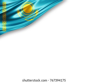 Kazakhstan flag of silk with copyspace for your text or images and white background -3D illustration