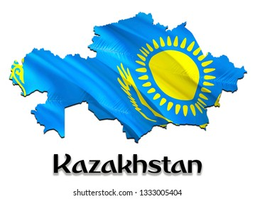 Kazakhstan Map Flag. 3D rendering Kazakhstan map and flag on Asia map. The national symbol of Kazakhstan. Astana flag on Asia background. National Kazakhstan waving flag colorful