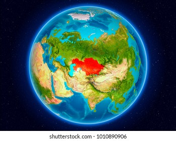Kazakhstan in red from Earth's orbit. 3D illustration. Elements of this image furnished by NASA.