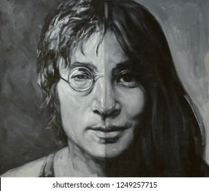 KAZAN/RUSSIA - November 27,2018: A illustration of a portrait John Lennon and Yoko Ono.