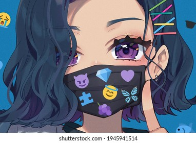 KEBUMEN,INDONESIA - MARCH 30 ,2021 : THIS IS A ANIME WOMEN USE THE FACE MASK TO PROTECT FROM VIRUS