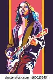 Kediri Indonesia 8-22-2020: Chris Cornell modern colorful pop art, WPAP style