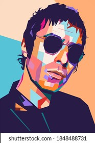 Kediri Indonesia November 6-2020: illustration of Liam Gallagher face, modern colorful pop art style.