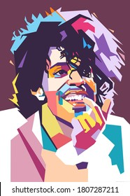 Kediri Indonesia September-2-2020: Prince Rogers Nelson with smile, simple pop art style