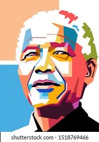Kediri, West java, Indonesia,October 1-2019, a simple pop art style of Nelson Rolihlahla Mandela was a South African anti-apartheid revolutionary, political leader, and philanthropist