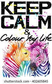 Keep Calm Tee shirt design. cute zebra watercolor illustration. Handwritten text.