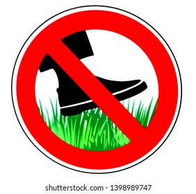 Keep off the grass, prohibition sign, with a shoe silhouette over green grass