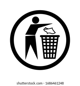 keep your city clean, sign and symbol, black and white illustration