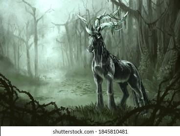 Kelpie unicorn creature emerging from a swamp