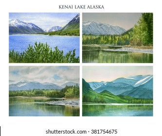 Kenai Lake Alaska Poster with Title.  Watercolor landscape paintings  in poster , clip art, format with title of Kenai Lake in the Chugach National Forest in Alaska