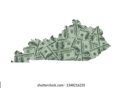 Kentucky State Map and Money Concept, Hundred Dollar Bills