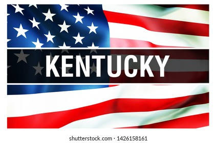 Kentucky state on a USA flag background, 3D rendering. United States of America flag waving in the wind. Proud American Flag Waving, US Kentucky state . US symbol and American Kentucky background