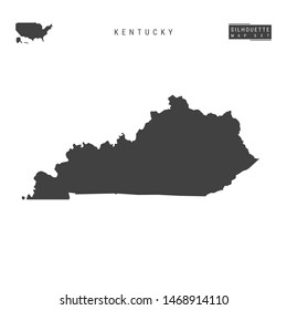 Kentucky US State Blank Map Isolated on White Background. High-Detailed Black Silhouette Map of Kentucky.
