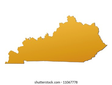 Kentucky (USA) map filled with orange gradient. Mercator projection. Original rendered image using public domain data(coordinates).