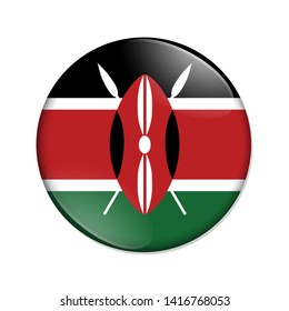 Kenya country on a flag badge button isolated over white 3D Illustration
