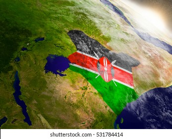 Kenya with embedded flag on planet surface during sunrise. 3D illustration with highly detailed realistic planet surface and visible city lights. Elements of this image furnished by NASA.
