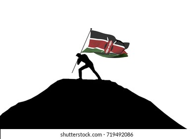 Kenya flag being pushed into mountain top by a male silhouette. 3D Rendering