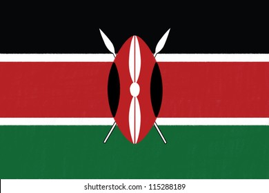 Kenya flag drawing by pastel on charcoal paper