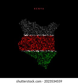 Kenya flag map, chaotic particles pattern in the colors of the Kenyan flag. illustration isolated on black background.