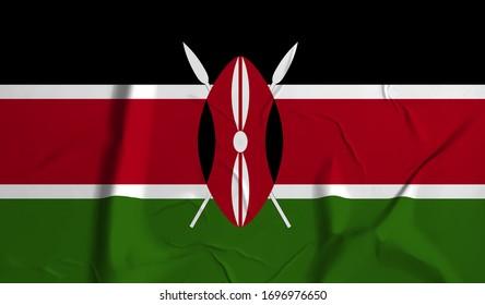 Kenya  flag on crumpled paper background.