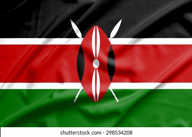 Kenya flag on soft and smooth silk texture