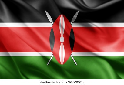 Kenya flag of silk