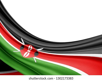 Kenya  flag of silk with copyspace for your text or images and white background-3D illustration