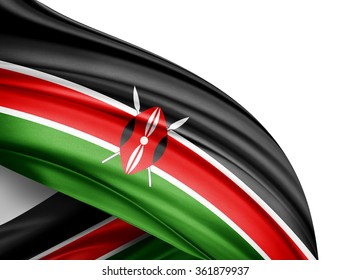 Kenya  flag of silk with copyspace for your text or images and white background