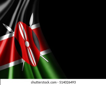 Kenya flag of silk with copyspace for your text or images and black background-3D illustration