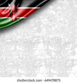 Kenya flag of silk with copyspace for your text or images and wall background -3D illustration